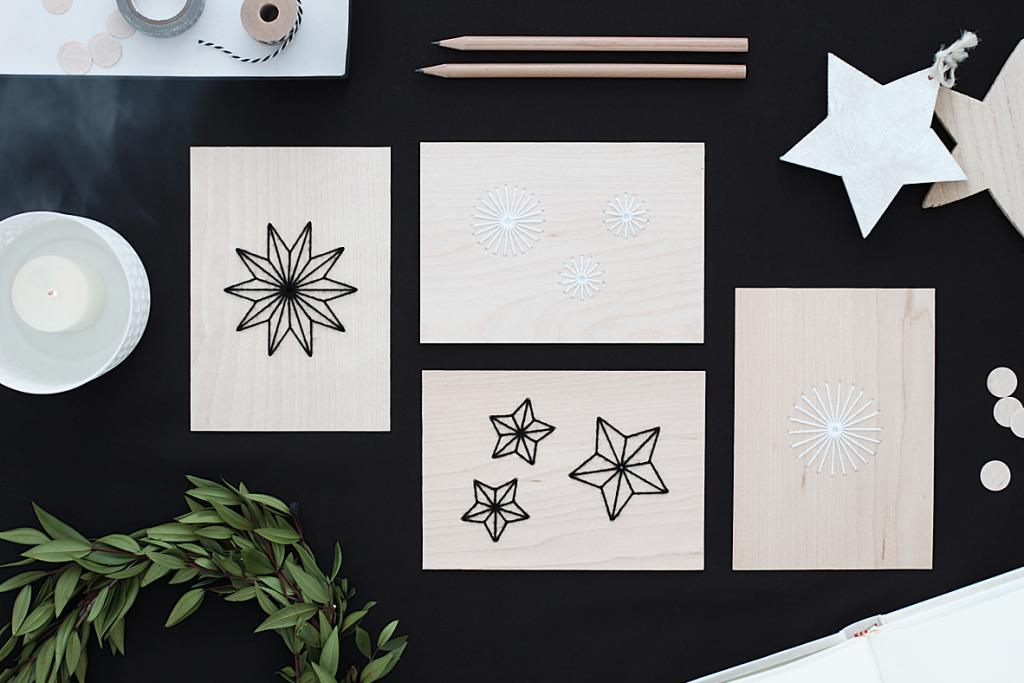 Holzkarten mit Sternen bestickt